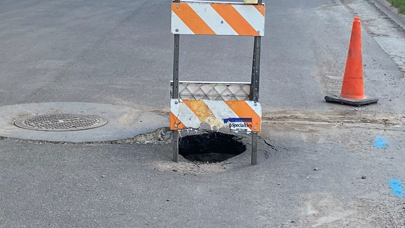 What appears to be a sinkhole forming on 18 1/2 st. s. in Moorhead MN