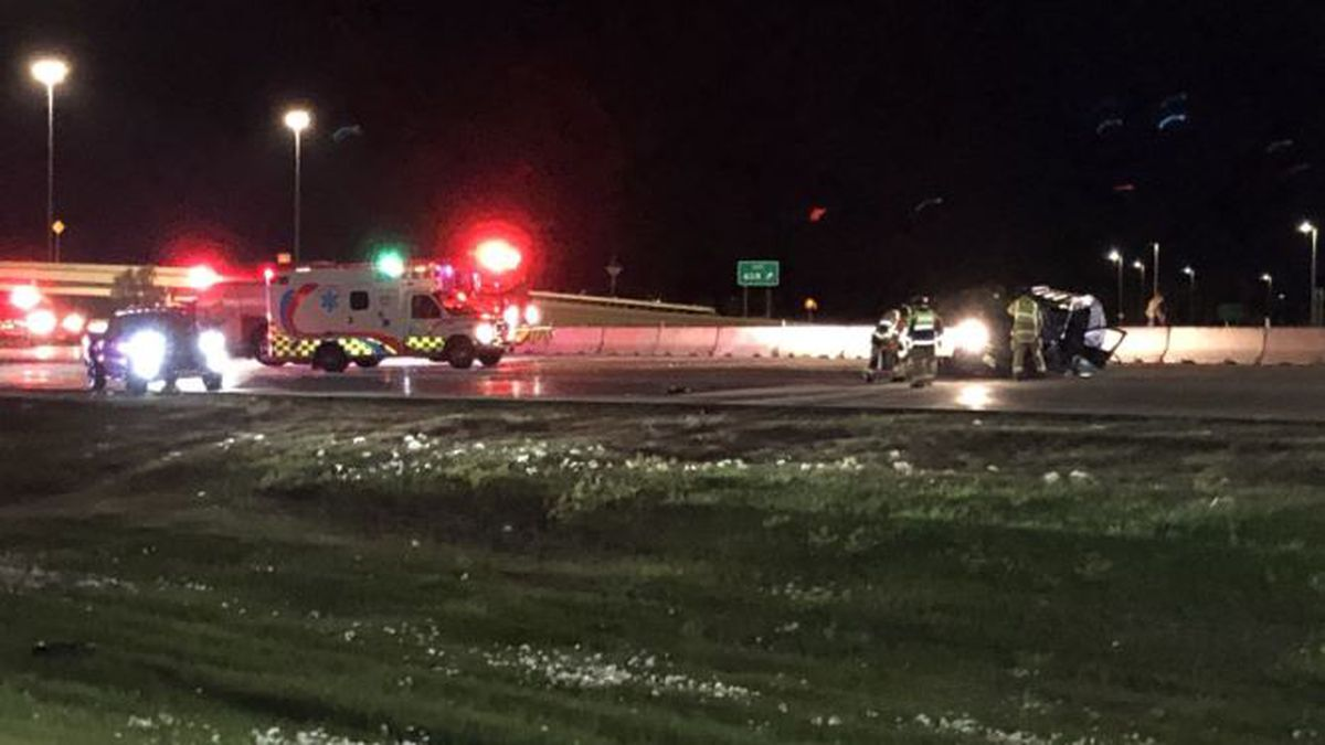 Crews work to clean up a single-vehicle crash on I-29 overnight Monday. One person was transported to the hospital.