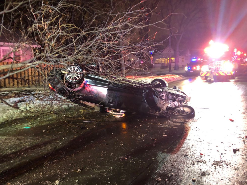 An 18-year-old from West Fargo was injured in a rollover crash on 13th Avenue