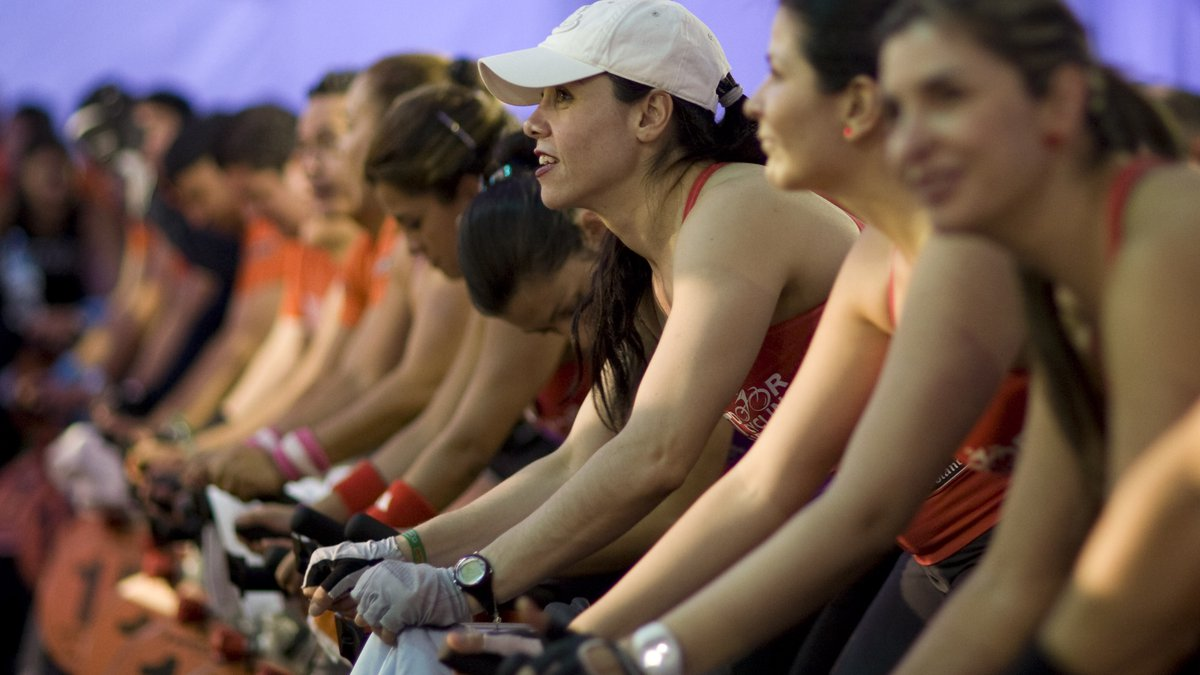 Riders pedal during a spinning marathon in Bogota, Colombia, Saturday, May 12, 2012. One...