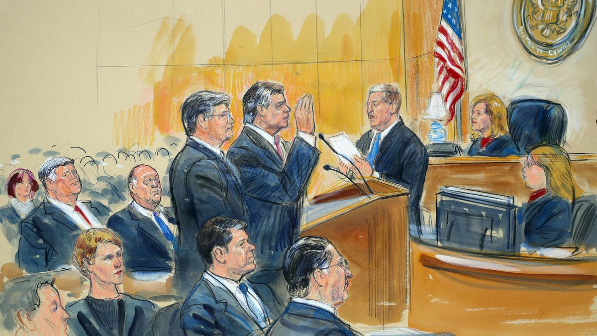 This courtroom sketch depicts former Donald Trump campaign chairman Paul Manafort, center, and his defense lawyer Richard Westling, left, before U.S. District Judge Amy Berman Jackson, seated upper right, at federal court in Washington, Friday, Sept. 14, 2018, as prosecutors Andrew Weissmann, bottom center, and Greg Andres watch. Manafort has pleaded guilty to two federal charges as part of a cooperation deal with prosecutors. Weissman has written a book about the Russia probe, due out in September, called 'Where Law Ends: Inside the Mueller Investigation.'