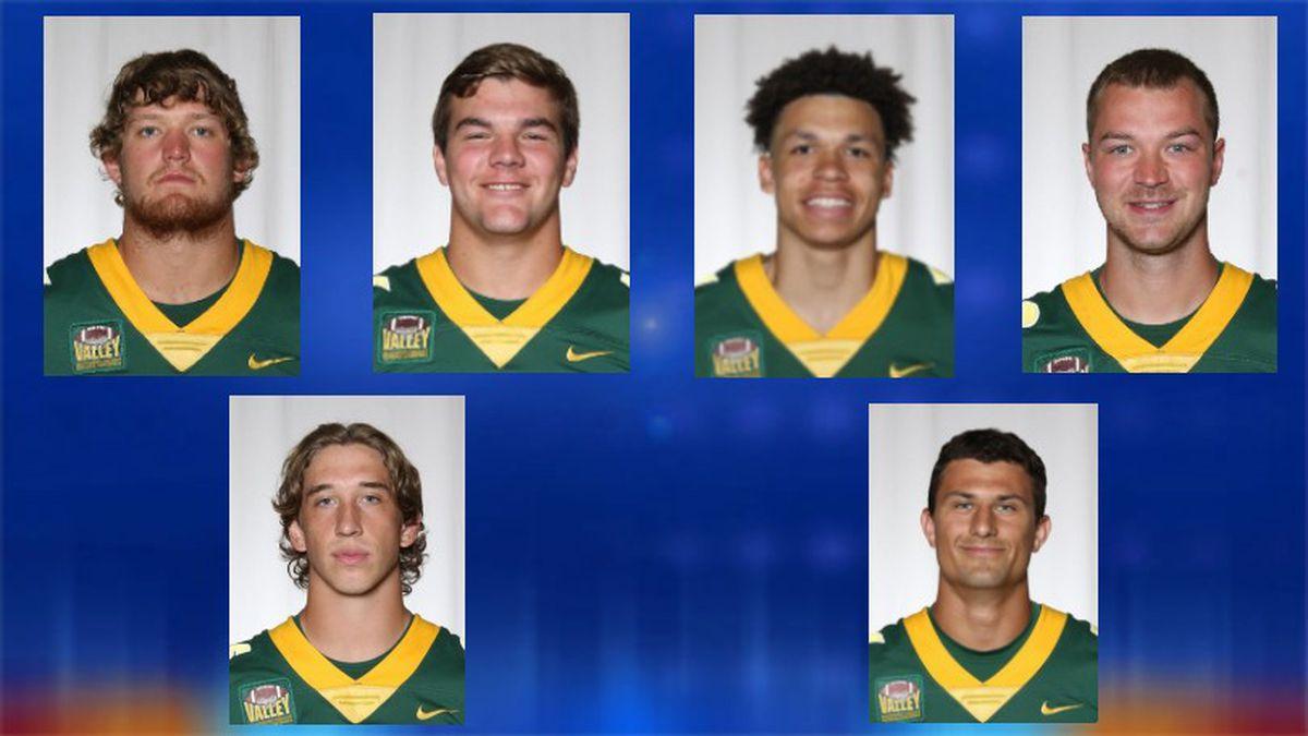 Top Row: First team All-Americans Cordell Volson, Hunter Luepke, Christian Watson, and Garret...