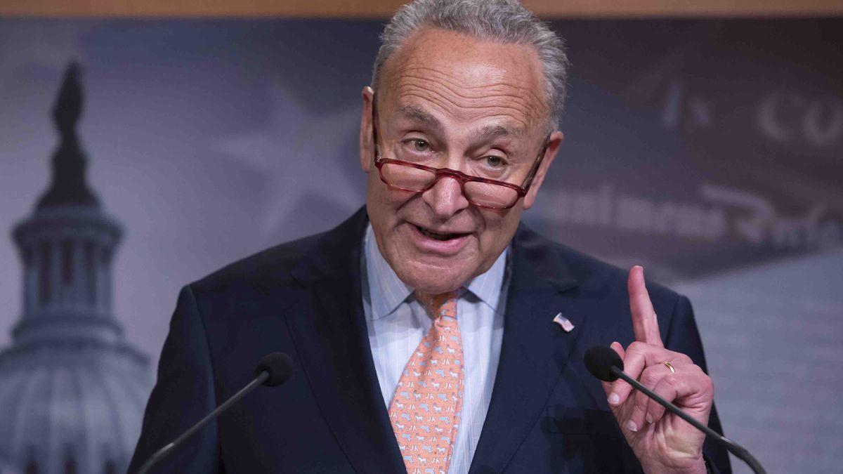 Senate Minority Leader Chuck Schumer, D-N.Y., talks to reporters after the budget package just passed in the Senate to permit the government to resume borrowing to pay all of its obligations and would  remove the prospect of a government shutdown in October, at the Capitol in Washington, Thursday, Aug. 1, 2019.  (AP Photo/J. Scott Applewhite)