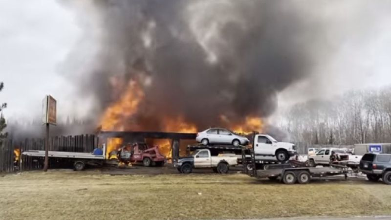 Firefighters arrived on scene to flames shooting from the salvage lot near Bemidji.