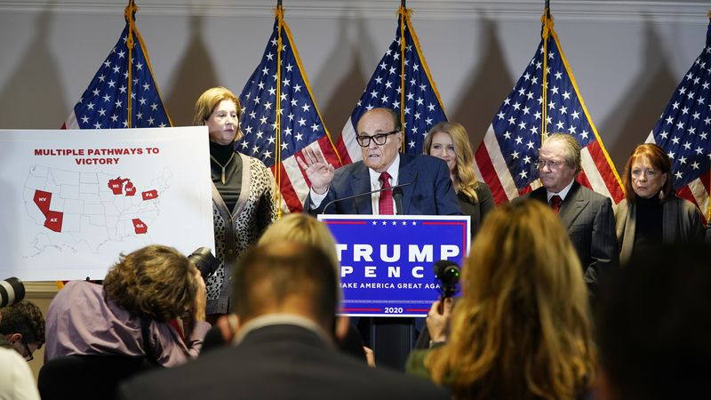 Former Mayor of New York Rudy Giuliani, a lawyer for President Donald Trump, speaks during a...