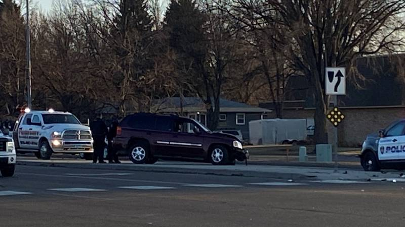 Moorhead Police respond to car crash at 8th Street and Highway 75 on Monday, March 29, 2021.