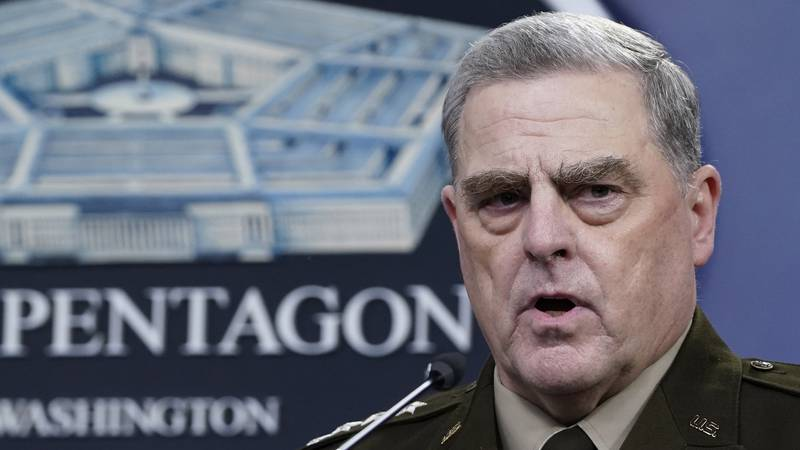 In this Sept. 1, 2021, file photo Chairman of the Joint Chiefs of Staff Gen. Mark Milley speaks...