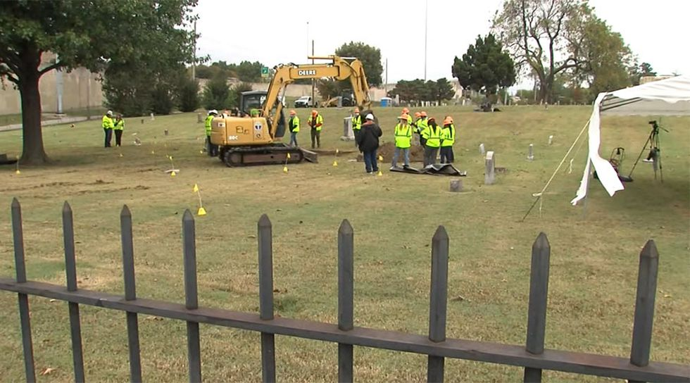 The second excavation for victims of the 1921 Tulsa Race Massacre began in Tulsa, Okla., on...
