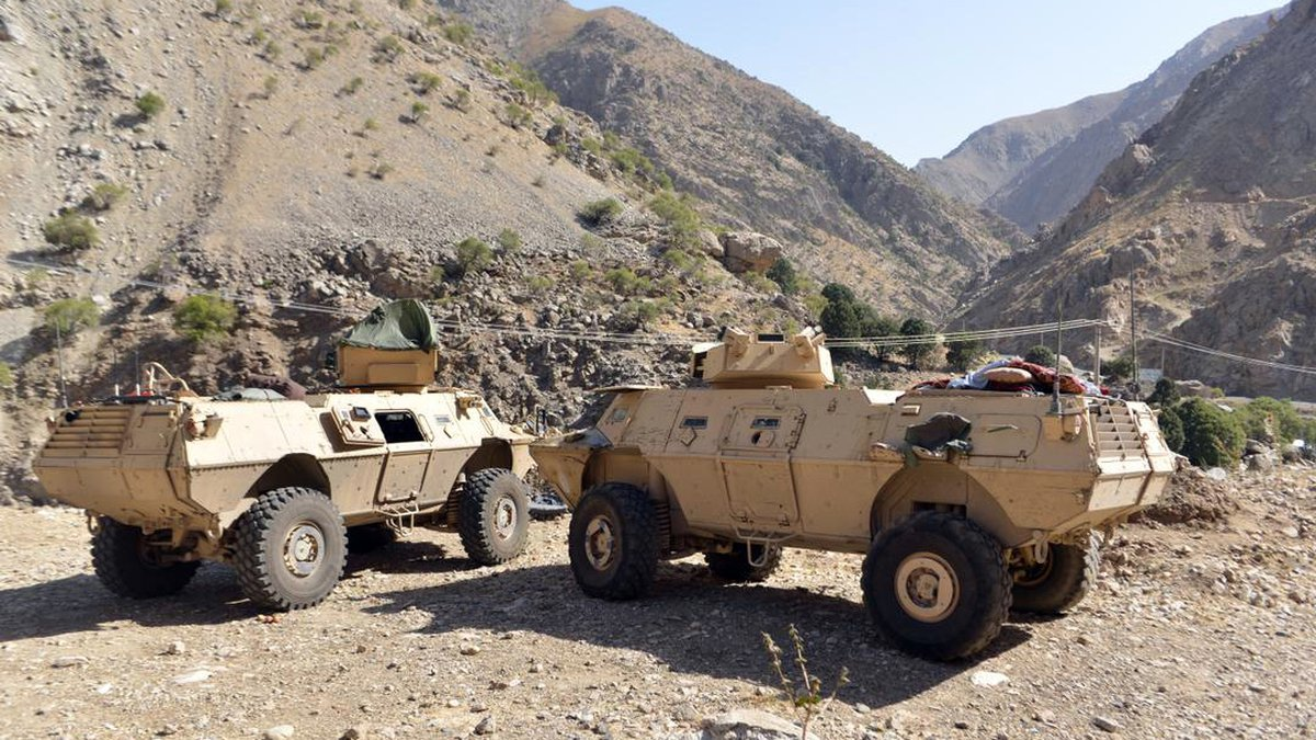 FILE - In this Aug. 25, 2021 file photo, armored vehicles are seen in Panjshir Valley, north of...
