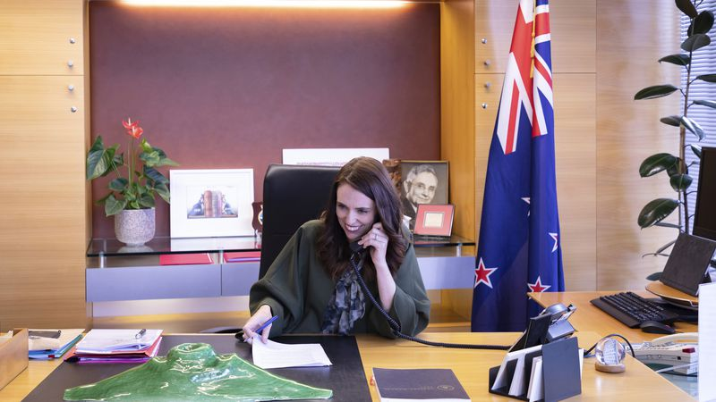 New Zealand Prime Minister Jacinda Ardern talks with U.S. President-elect Joe Biden on phone at...