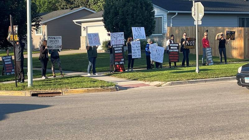 Parents also arrived for the first day of school in Moorhead, but they were protesting instead...