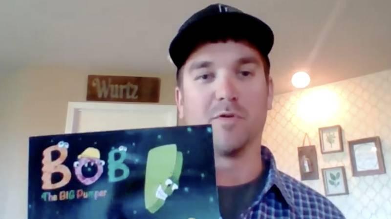 """Lucas Wurtz and his book """"Bob the Big Pumper"""""""