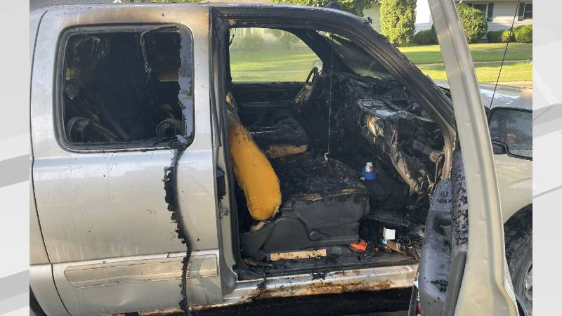 Crews responded to reports of a vehicle fire in Fargo and found this pickup burning.