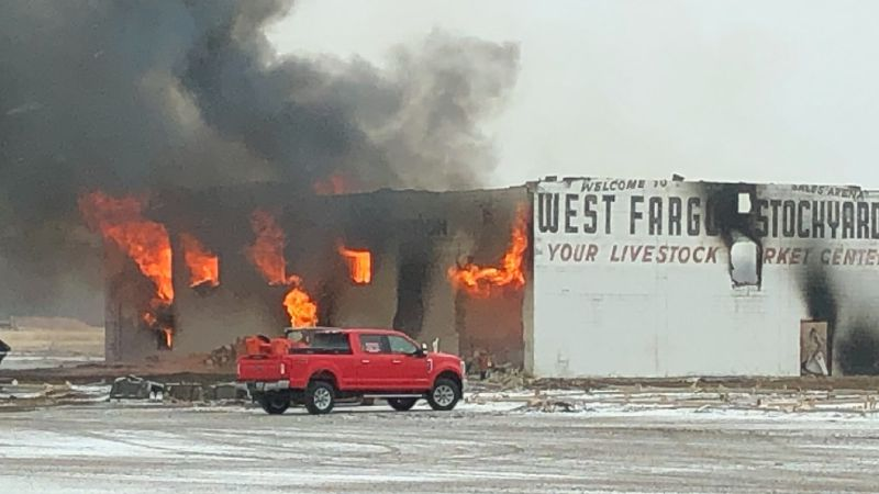 The old West Fargo stockyards are being burned as the fire department watches to make sure it...