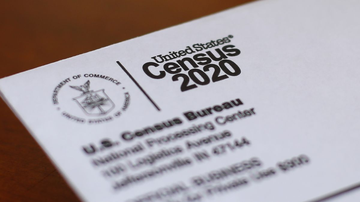 In this Sunday, April 5, 2020 file photo, An envelope containing a 2020 census letter mailed to a U.S. resident is shown in Detroit.