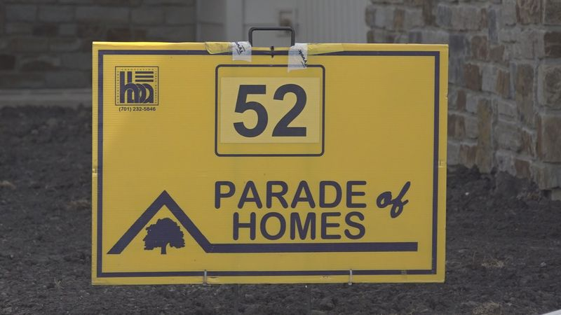 The signs that are used to signify the locations for the Parade of Homes in the Fargo-Moorhead...