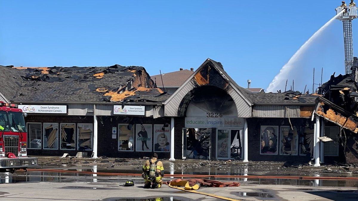 Aftermath of the fire which destroyed Gigi's Playhouse and several other businesses on May 11,...