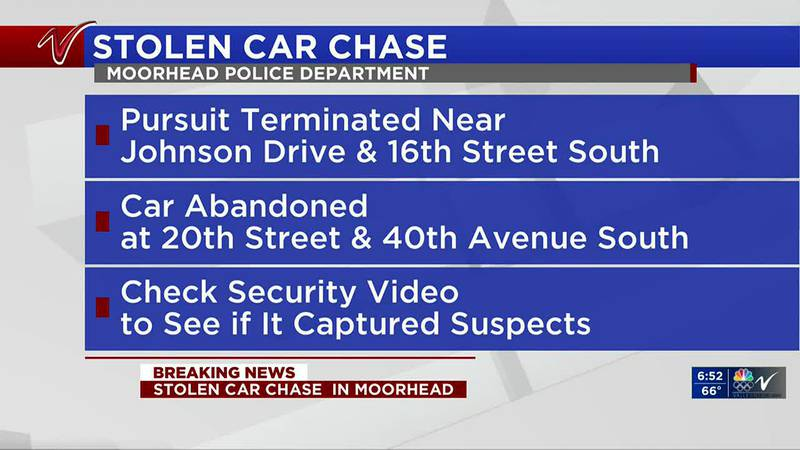 News - Police chase stolen car, still searching for suspects