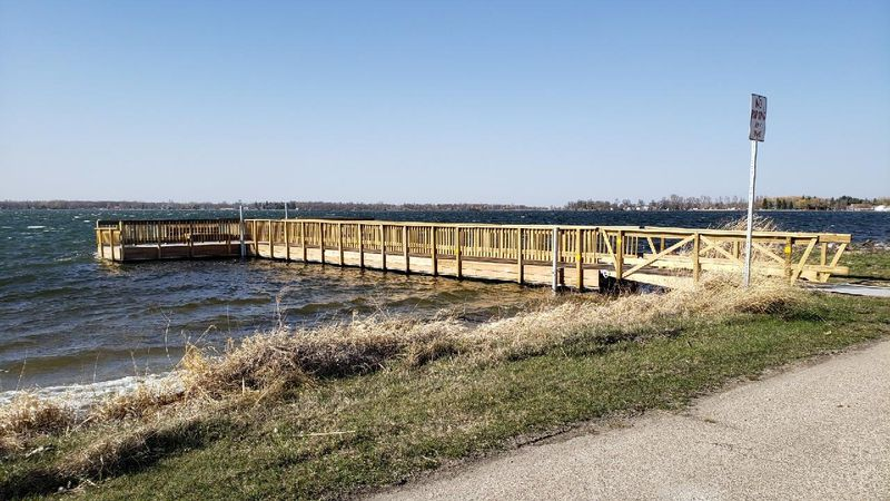 One of the new piers placed on Maple Lake near Mentor, MN.