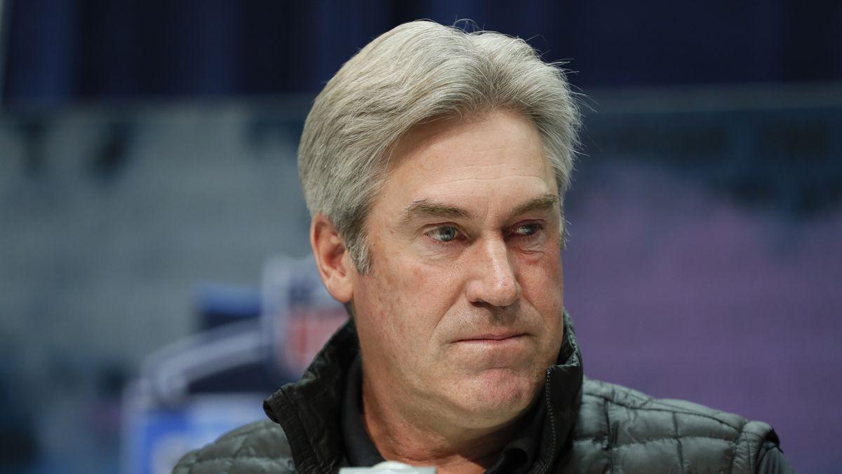 In this Feb. 25, 2020, file photo, Philadelphia Eagles coach Doug Pederson speaks during a news...