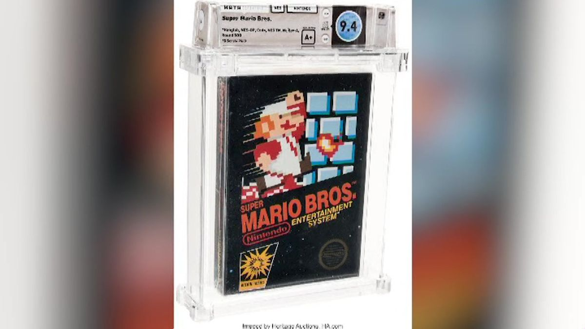An unopened copy of a vintage Super Mario Bros. video game has been sold for $114,000 in an auction that underscored the enduring popularity of entertainment created decades ago.