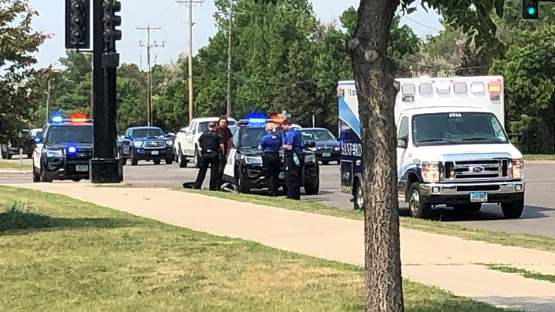 Person on a skateboard hit by a vehicle at 25th Street and 17th Avenue South in Fargo.