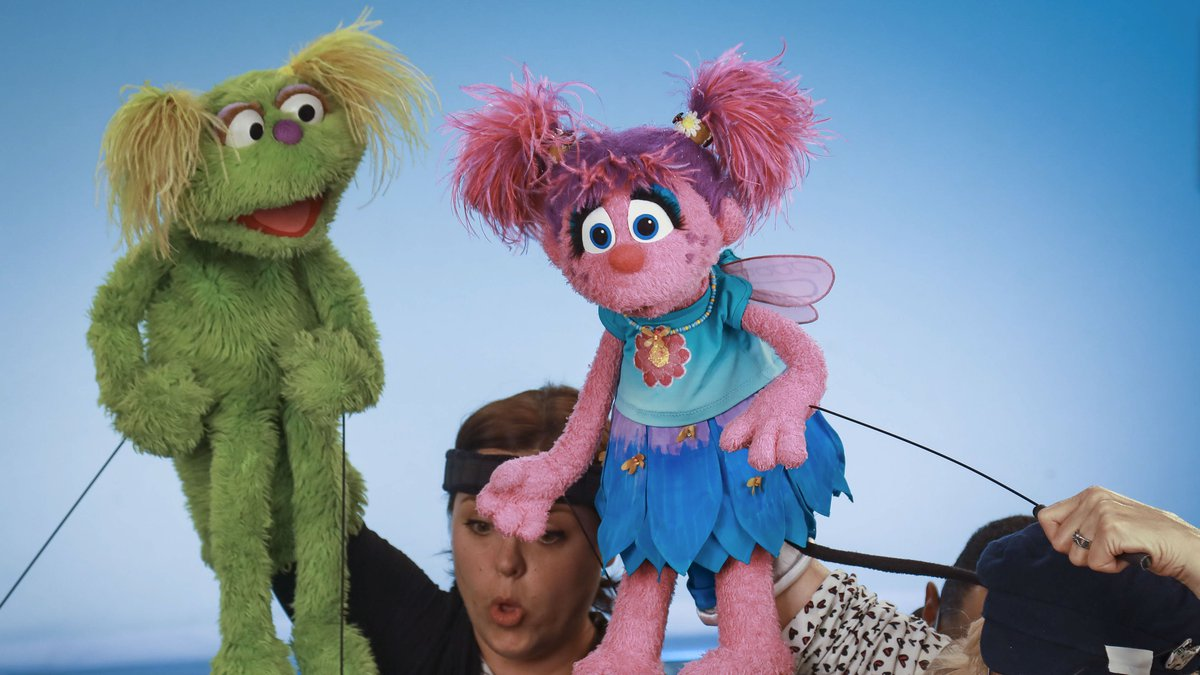This Aug. 6, 2019 photo shows puppeteers Haley Jenkins, left, and Leslie Carrara-Rudolph...