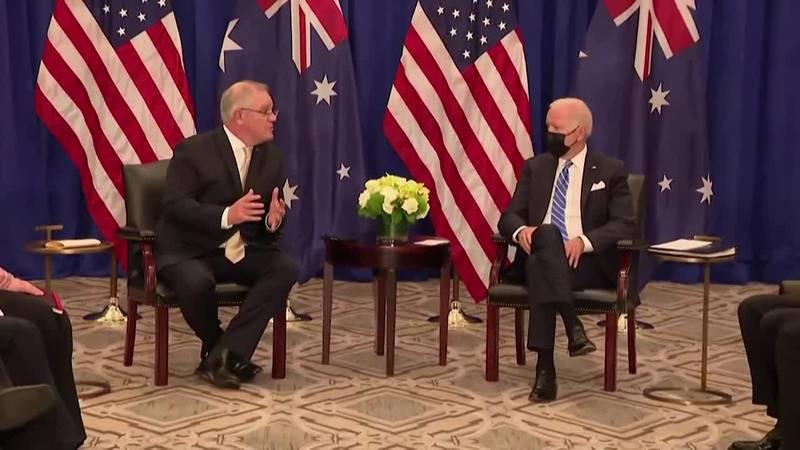 Australian Prime Minister Scott Morrison meets with President Joe Biden during the United...