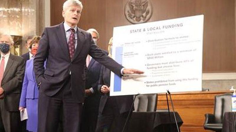 U.S. Senator Bill Cassidy, M.D. (R-LA) speaks at a press conference in the Dirksen Senate...