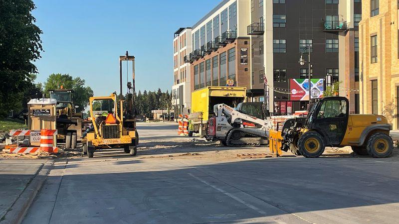 Construction on Sheyenne Street in West Fargo
