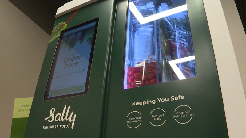 Sally the Salad Robot dispenses a wholesome lunch option in a high-tech way.