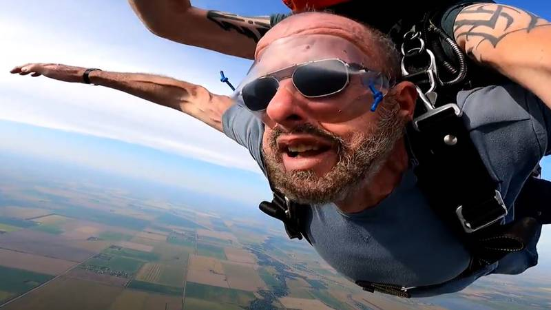Blind Veteran Skydives for 70th Birthday