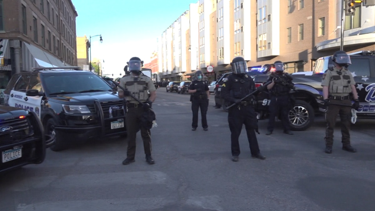 Protest turns violent in Downtown Fargo on May 30. 2020.