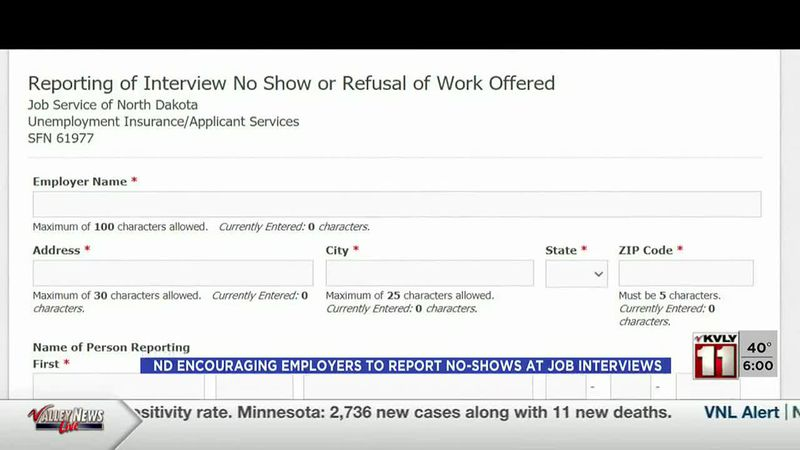 News - ND encouraging employers to report no-shows at job interviews