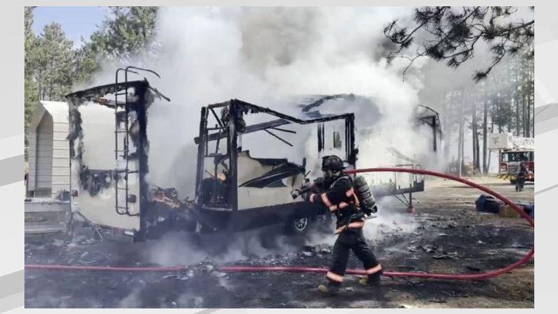 RV destroyed following fire in Bemidji, MN.