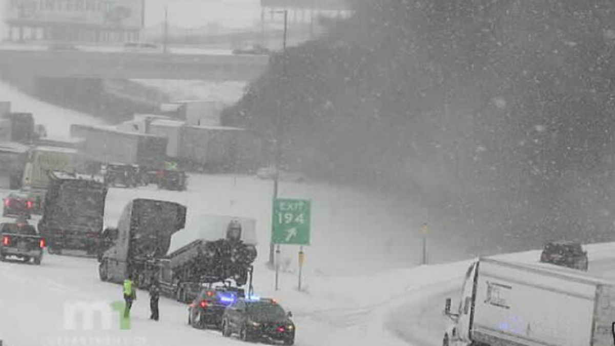 Cars are crashing into each other and a semi is on fire along I-94 near Monticello, MN.