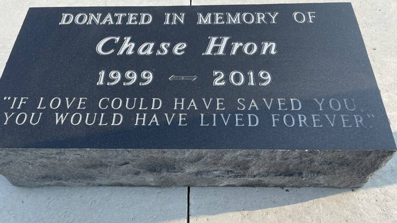 The memorial stone that was built outside the Grand Forks County Sheriff's Office Training...