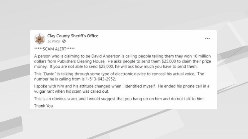 Sweepstake scam in Clay County