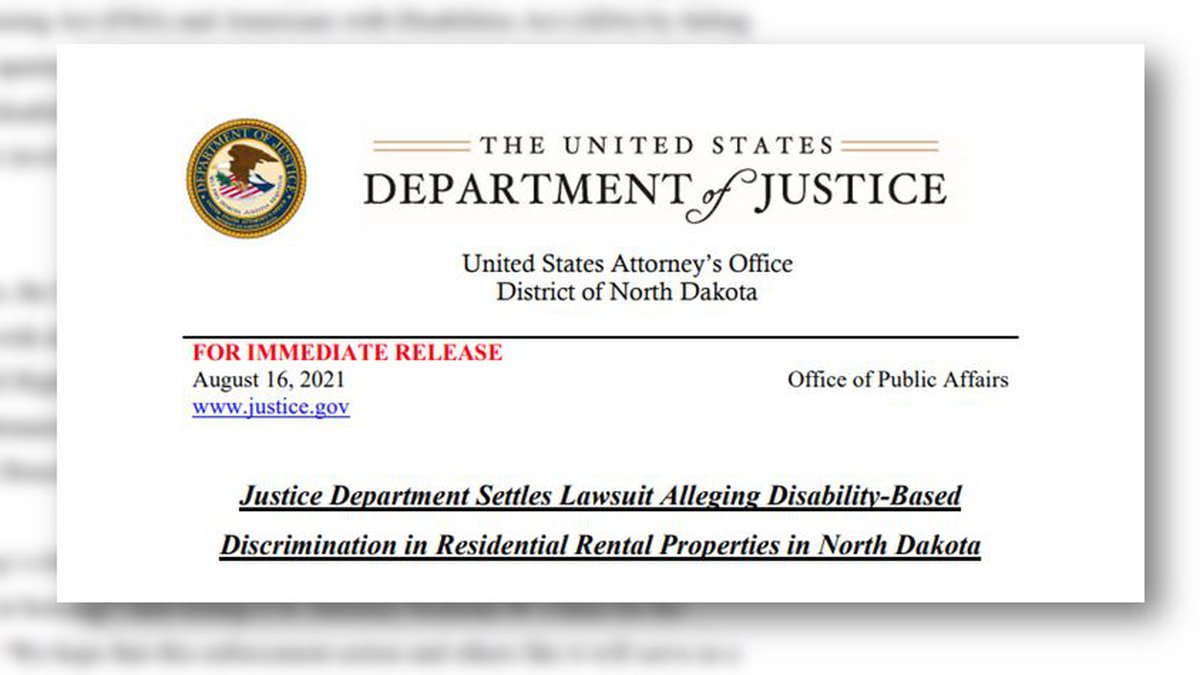 The DOJ settled with a number of rental properties regarding accusations of discrimination.