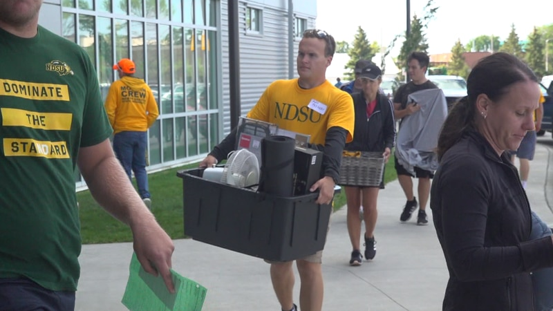 Students are welcomed back to NDSU for their move-in day.