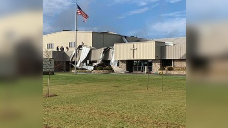 A church roof is damaged after a tornado touched down in Park Rapids, MN.