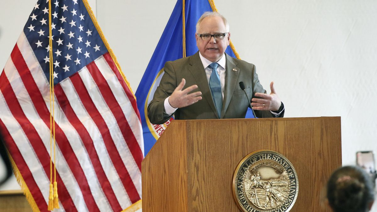 Minnesota Gov. Tim Walz addresses the media during news conference, Wednesday, March 18, 2020, in St. Paul, Minn., where he gave an update on the state's effort to slow down the coronavirus. (AP Photo/Jim Mone)