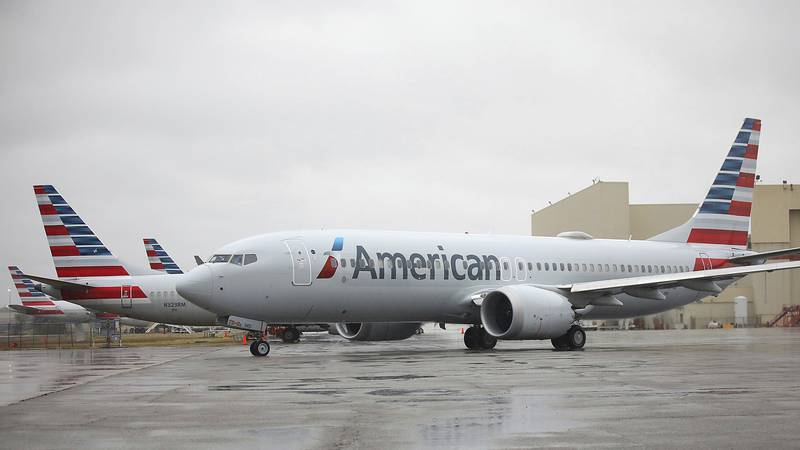 An American Airlines Boeing 737 Max taxis at Tulsa International Airport to fly to Dallas,...