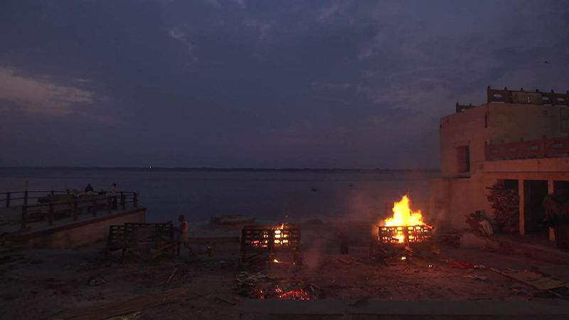 Cremations grow at the banks of the Ganges in Varanasi, India, as deaths overwhelm funeral...
