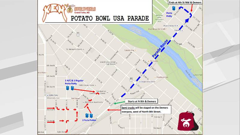Route of the Potato Bowl Parade on Saturday, September 18, 2021.