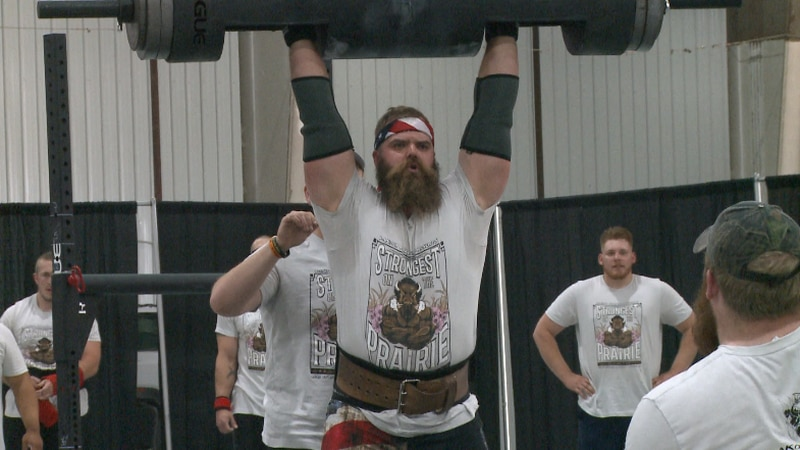 """""""Strongest on the Prairie"""" competitor performing the Log Press"""