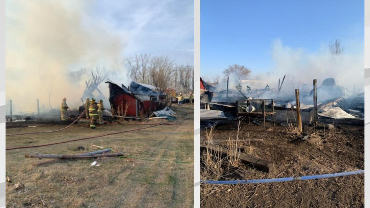 Pictures of buildings destroyed by fire near Wyndmere, ND on April 5, 2021.