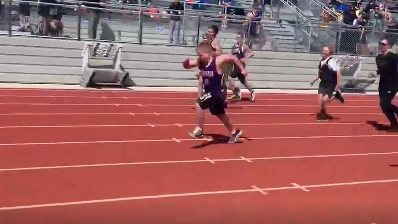 Seventh-grader Grady Christensen is out for track for the first time this spring.