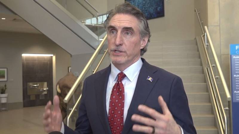 Gov. Doug Burgum delivered comments today at the press conference on the F-M flood diversion.
