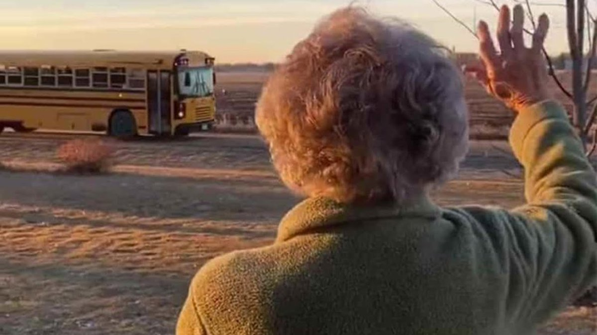 93-Year-Old Woman Who Waves At School Bus Every Morning Gets A Sweet Birthday Surprise